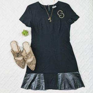 DKNY Faux Leather Detail Dress A Line Black